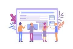 Компьютер маленьких людей веб-дизайна иллюстрация вектора