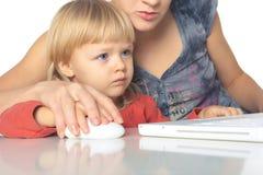 компьютер мальчика учит Стоковая Фотография RF