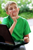 компьютер мальчика Стоковое Изображение RF