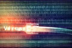 Компьютер нападения вируса от кабеля сети Стоковое Фото