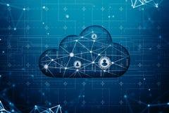 Компьютер облака и социальная концепция сети иллюстрация штока