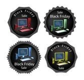 Компьютер ПК на черной предпосылке продажи пятницы Стоковые Фотографии RF