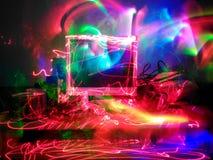 Компьютер покрашенный светом Стоковые Фотографии RF