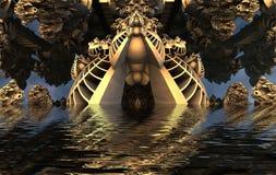 Компьютер представил виртуальный пейзаж Стоковая Фотография