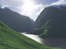 компьютер произвел горный вид озера Стоковое фото RF