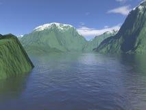 компьютер произвел горный вид озера Стоковые Изображения RF