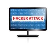 Компьютер рубя значок системы Монитор с нападением бинарного кода и хакера белизна изолированная предпосылкой вектор Стоковое Фото