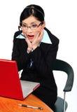 компьютер смотря женщину Стоковое фото RF