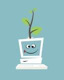 Компьютер с зеленым деревом Иллюстрация вектора