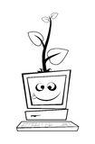 Компьютер с молодым деревом Иллюстрация вектора