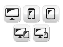 Компьютер, таблетка, установленные кнопки smartphone Стоковая Фотография RF
