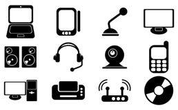 Компьютер, электронное устройство, ТВ и средства массовой информации vector значки Стоковые Фото