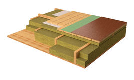 компьютер 3D произвел изображение деревянной детали конструкции полов обрамляя дома Стоковое Изображение RF