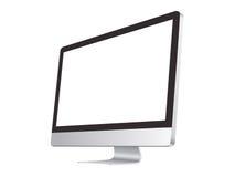 Компьютер IMac на белом модель-макете предпосылки Стоковое Изображение RF