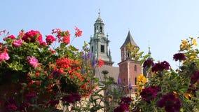Комплекс в Кракове, Польша замка Wawel королевский сток-видео