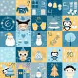 Комплекс предпусковых операций календаря пришествия рождества Бесплатная Иллюстрация