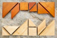 2 комплекта головоломки tangream Стоковая Фотография RF