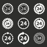 24 комплекта значка обслуживания часа Стоковое Фото