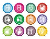 Комплекты значка базы данных круглые Стоковая Фотография RF