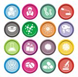 Комплекты значка биотехнологии круглые Стоковые Изображения RF
