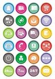 Комплекты значка центра телефонного обслуживания круглые Стоковое Изображение