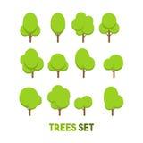 Комплекты искусства дизайна дерева плоского Стоковые Фотографии RF