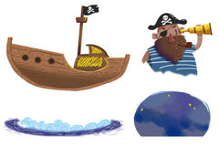 Комплекты иллюстрации: Корабль пиратов, капитан пирата, волна, звездная ночь бесплатная иллюстрация