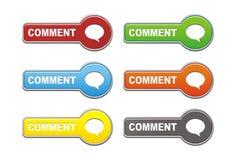 Комплекты кнопки комментария Стоковое Изображение