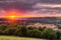 Комплекты Солнця над Hexham Стоковое Изображение RF