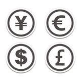 Комплекты стикера круга валюты Стоковые Фото