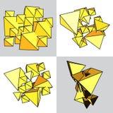 Комплект абстрактного желтого тома пирамид и треугольников Стоковые Фото