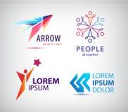 Комплект абстрактного дизайна логотипа, стрелка вектора иллюстрация штока