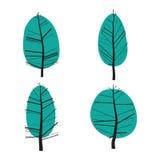 Комплект абстрактной стилизованной иллюстрации деревьев Стоковая Фотография