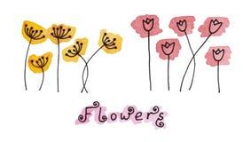 Комплект абстрактной цветков нарисованных шайкой бандитов на акварели закрывает в стиле doodle след Стоковая Фотография