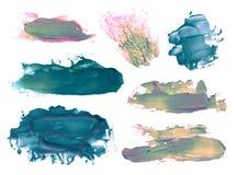 Комплект абстрактных акриловых помарок ходов щетки Стоковые Изображения RF