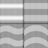Комплект абстрактных безшовных геометрических черно-белых линий картины, узких и широких Стоковые Изображения RF