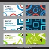 Комплект абстрактных геометрических визитных карточек - круг, квадрат, треугольник иллюстрация штока