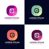 Комплект абстрактных геометрических квадратных знаков логотипа Стоковые Фото