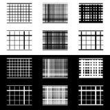 Комплект абстрактных геометрических элементов с линиями в черно-белом Стоковое Изображение