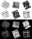Комплект абстрактных геометрических элементов с линиями в черно-белом Стоковое Изображение RF
