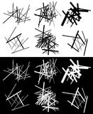 Комплект абстрактных геометрических элементов с линиями в черно-белом Стоковые Фото