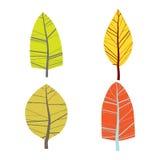 Комплект 4 абстрактных деревьев белизна изолированная предпосылкой Стоковое Изображение