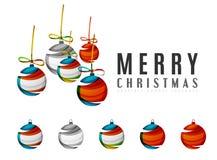 Комплект абстрактных значков шарика рождества, дело Стоковая Фотография