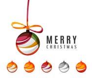 Комплект абстрактных значков шарика рождества, дело Стоковое Фото