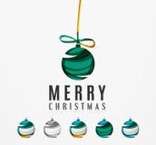 Комплект абстрактных значков шарика рождества, дело Стоковые Фото