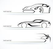 Комплект абстрактных линейных силуэтов автомобиля Стоковое фото RF