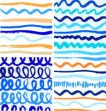Комплект абстрактных картин краски с чернилами выравнивается Стоковые Фотографии RF