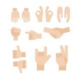 Комплект абстрактных рук Различные жесты, рукопожатие, сигналы Значки и символы иллюстрация вектора