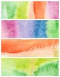 Комплект абстрактных acrylic и акварели покрасил предпосылку Стоковая Фотография