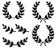 Комплект лавровых венков силуэтов Стоковое Изображение